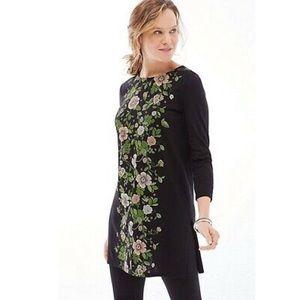 J.Jill Black floral tunic